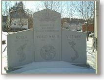 The TRI-WAR Memorial at the intersection of Hudson Street and Pierce Street  ..  WWII, Korea, Vietnam,